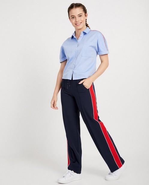 Lichtblauw hemd met visgraatmotief - allover - JBC