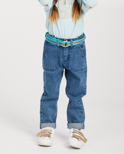 Blauwe jeansbroek met riem Maya