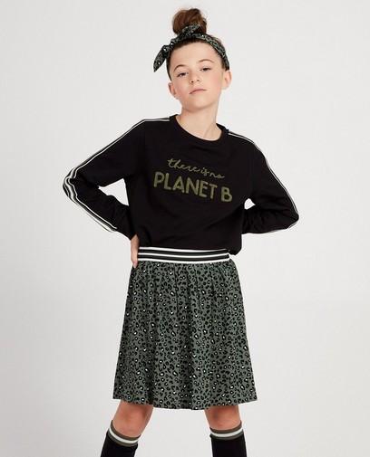Zwarte sweater met opschrift