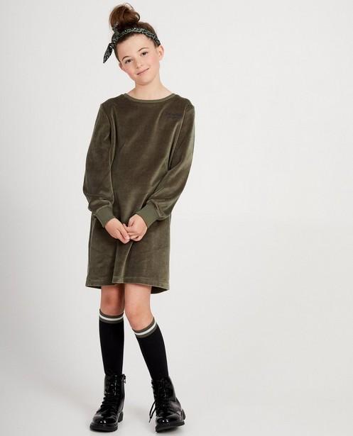 Robe molletonnée verte - en velours, inscription - JBC