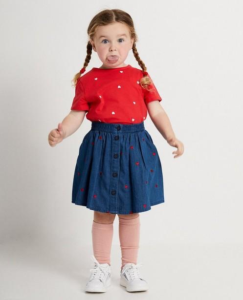 T-shirt rouge, petits cœurs roses - imprimé intégral - JBC