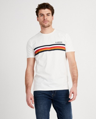 T-shirt blanc, rayures Baptiste