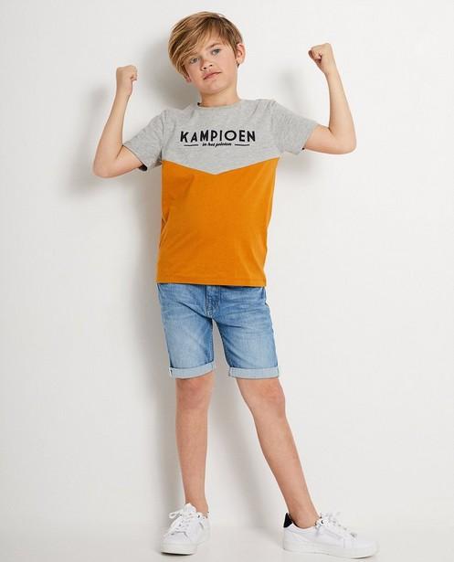 Grijs T-shirt 7-14 jaar Baptiste - met opschrift 'kampioen' - JBC