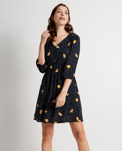 4d2d3783128a28 Zwarte jurk met print