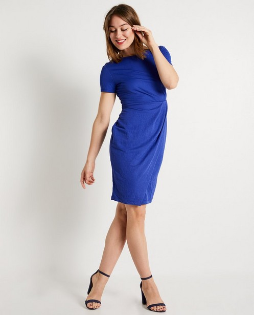 Kobaltblauwe jurk - met korte mouwen - JBC