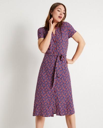 a03f827b117954 Kobaltblauwe jurk met bloemenprint