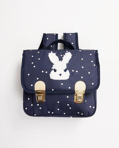 Blaue Büchertasche mit Print