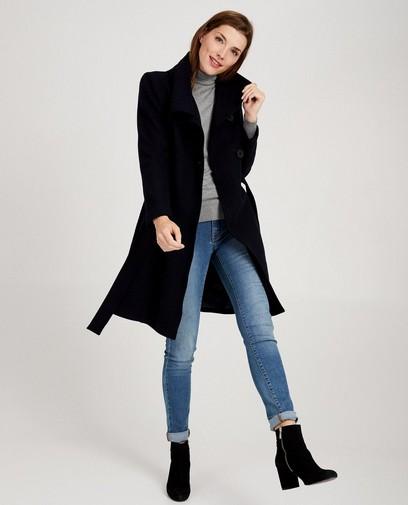Blauwe mantel van wolmix