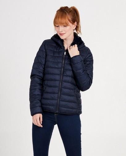 Omkeerbare donkerblauwe jas