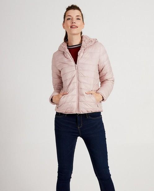 Omkeerbare roze jas - met pels - JBC