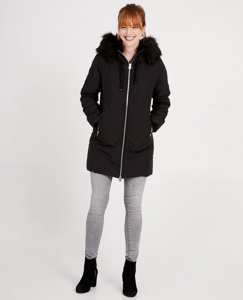 Zwarte jas met faux-fur - regenbestendig - JBC