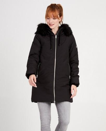 Zwarte jas met faux-fur