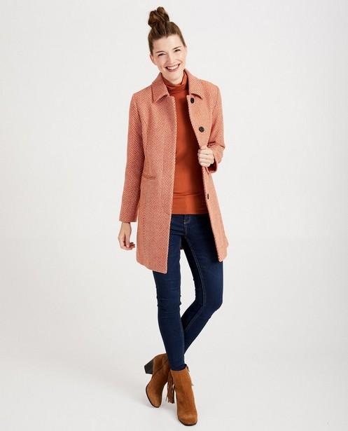 Wollen jas met visgraatmotief Sora - in oranje - JBC