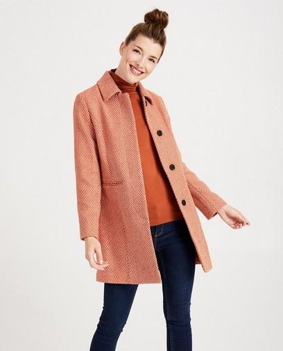 Wollen jas met visgraatmotief Sora