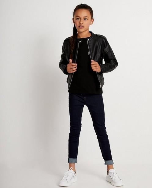Zwart jasje met gevlekte voering - nepleder - JBC