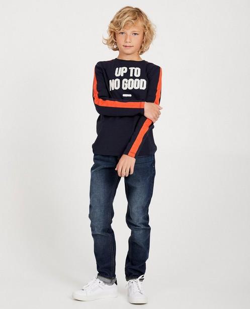 T-shirt bleu à manches longues - inscription en fil bouclette - JBC