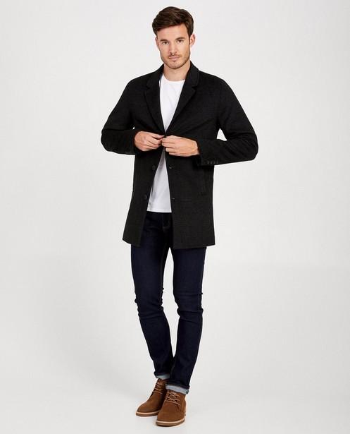 Zwarte jas van wolmix - lange mantel - JBC