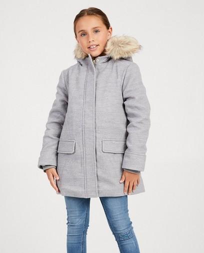 Grijze jas met faux-fur