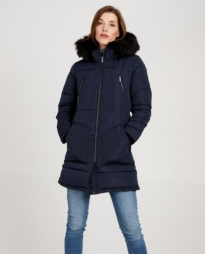 Donkerblauwe jas met faux-fur Sora