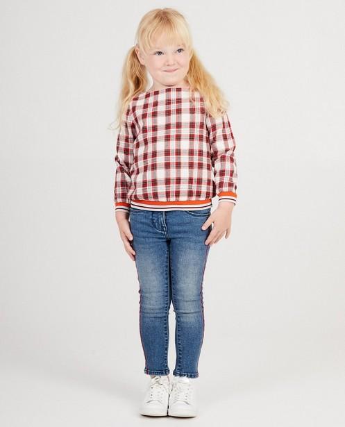 Witte blouse met rood ruitpatroon - en metaaldraad - JBC