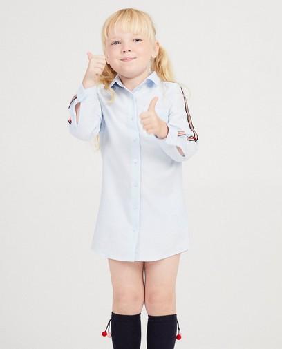 Robe-chemisier bleu clair, rayure