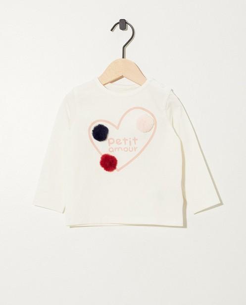 T-shirt blanc à manches longues - imprimé - JBC