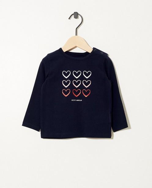 T-shirt bleu à manches longues - imprimé de cœurs - coton bio - JBC
