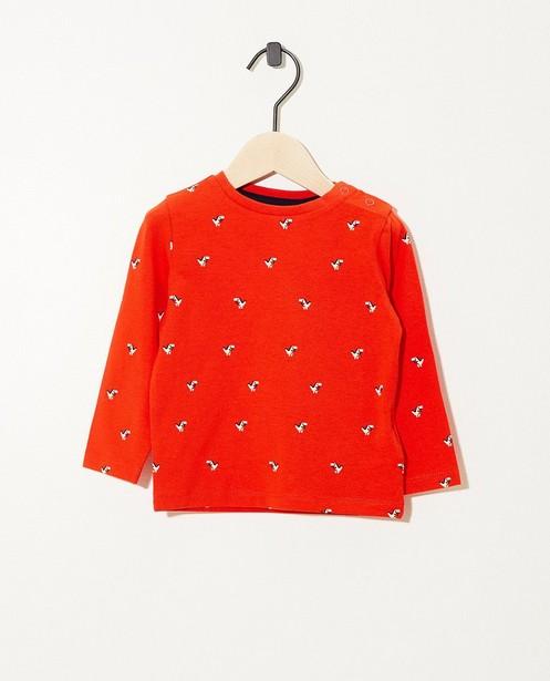 T-shirt rouge à manches longues - imprimé - JBC