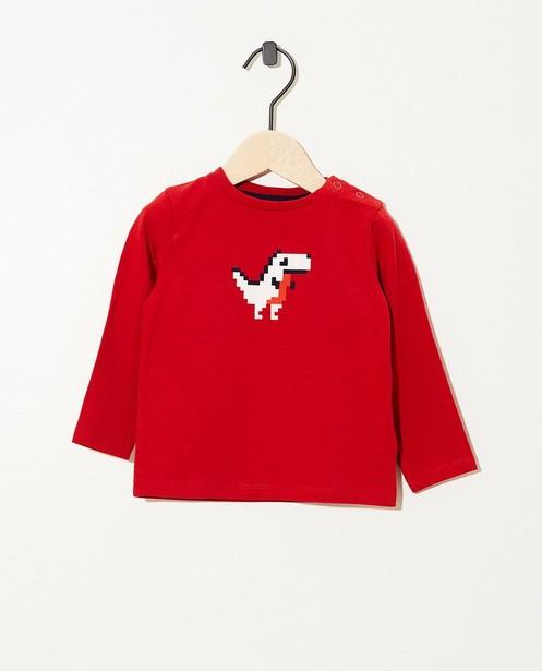 T-shirt rouge à manches longues - coton bio, imprimé feutrine - JBC