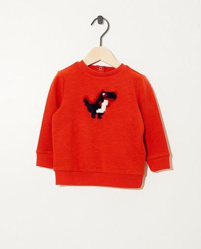 Oranjerode sweater met dinoprint