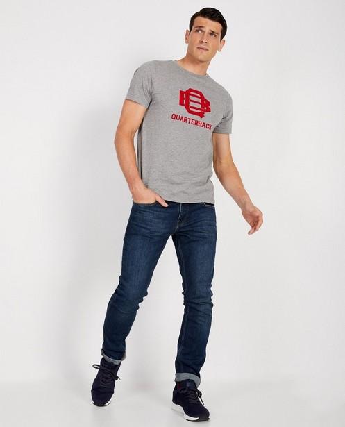 T-shirt bleu foncé à inscription - rouge - JBC