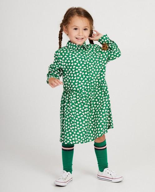 Robe verte, imprimé de cœurs - sur toute la surface - JBC