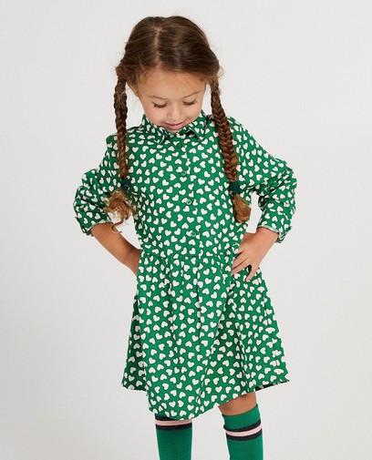 Groen jurkje met hartjesprint
