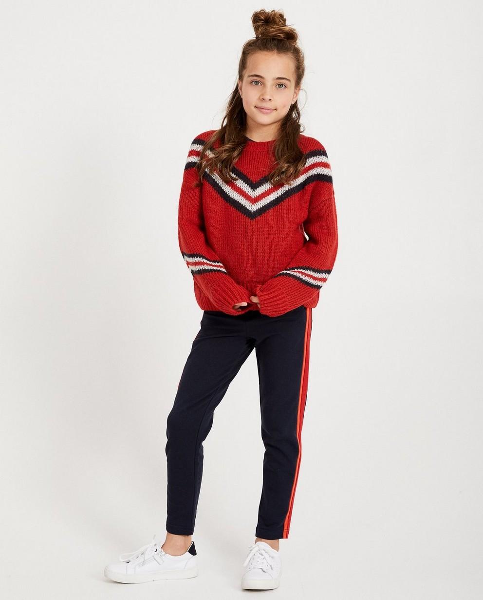 Pull bleu foncé color block - tricot à grosses mailles - JBC