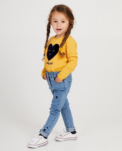 T-shirt jaune à manches longues - imprimé velours+inscription - JBC