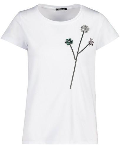 Wit T-shirt met glitter bloemen