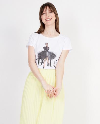 Wit T-shirt met opschrift Elle Italia