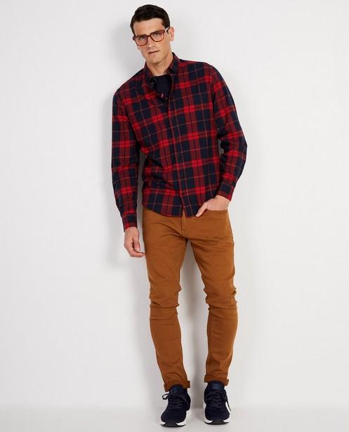 Blauw hemd met rood ruitpatroon - allover - JBC