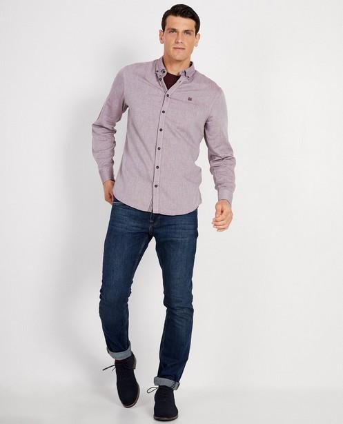 Blauw hemd met visgraatmotief - allover - JBC