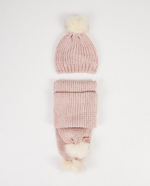 Écharpe et bonnet roses - fil métallisé - JBC