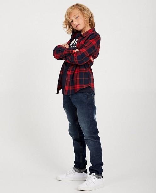 Chemise bleue, 7-14 ans - à carreaux rouges - JBC