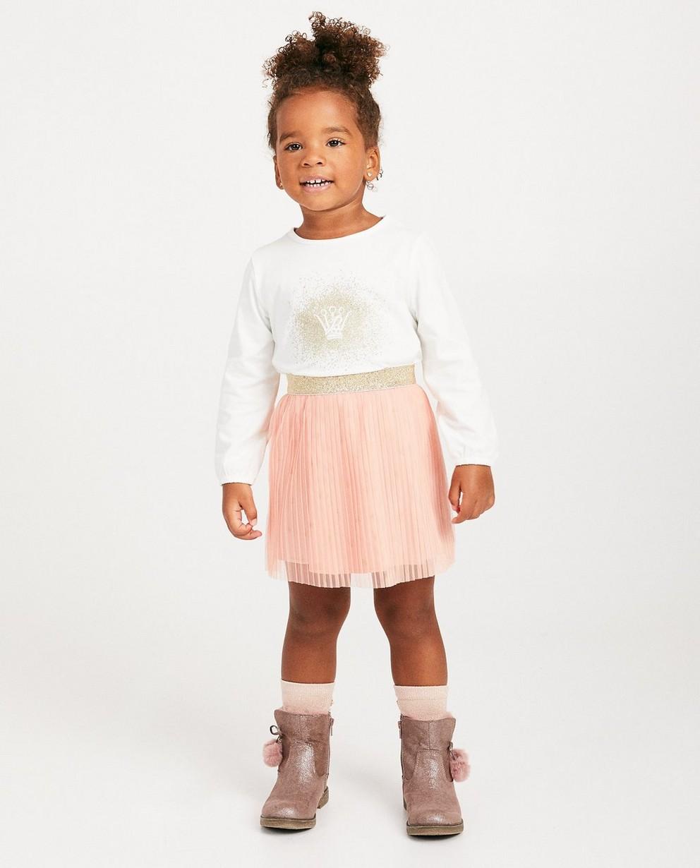 T-shirt blanc à manches longues - Prinsessia, imprimé - Prinsessia