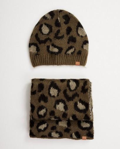 Bonnet + écharpe tachetés