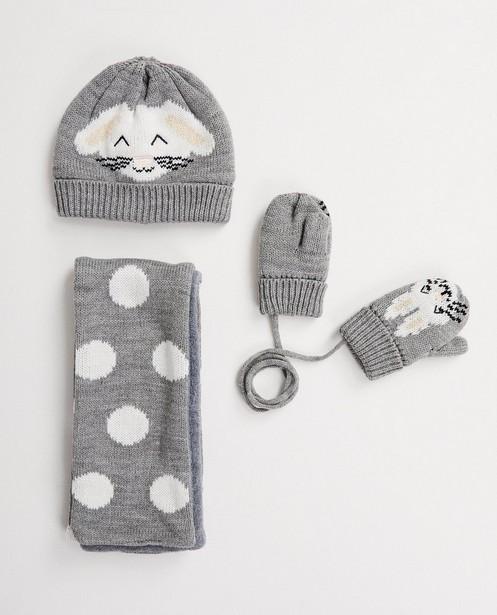Set met muts, sjaal en wanten - met konijntje - JBC