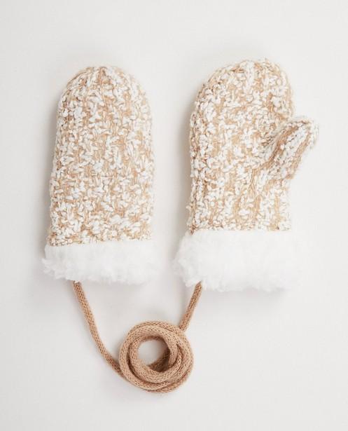 Moufles blanches et beiges - avec cordon - JBC