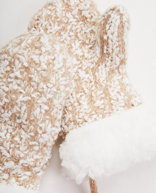 Bonneterie - Moufles blanches et beiges