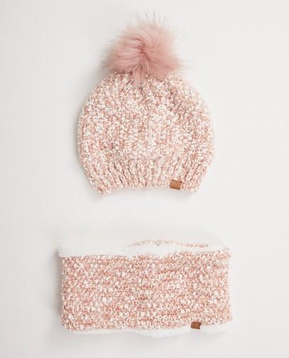 Set: muts + sjaalkraag in roze