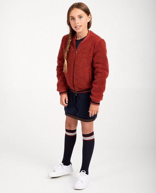 Veste en teddy Sara De Paduwa - rouge avec rayure bleue - padu
