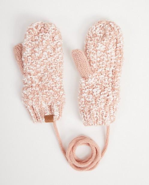 Moufles roses et blanches - cordon de lien - JBC