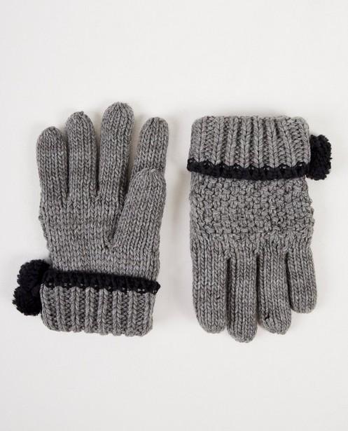 Grijze handschoenen met pompons - grove brei - JBC